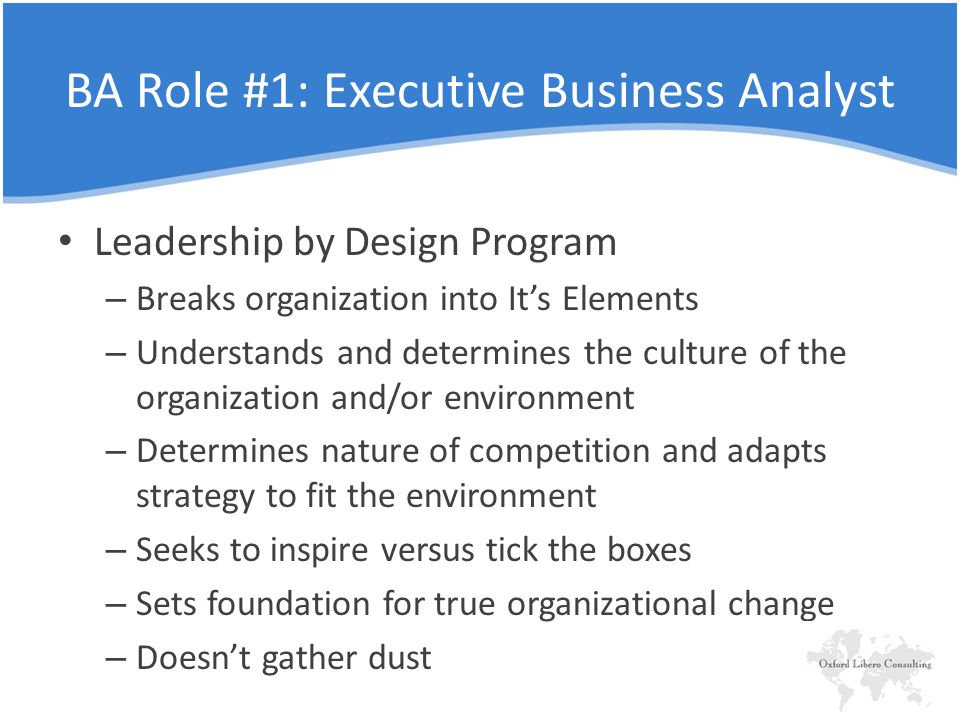 Leadership by Design Program – Breaks organization into It's Elements – Understands and determines the culture of the organization and/or environment – Determines nature of competition and adapts strategy to fit the environment – Seeks to inspire versus tick the boxes – Sets foundation for true organizational change – Doesn't gather dust