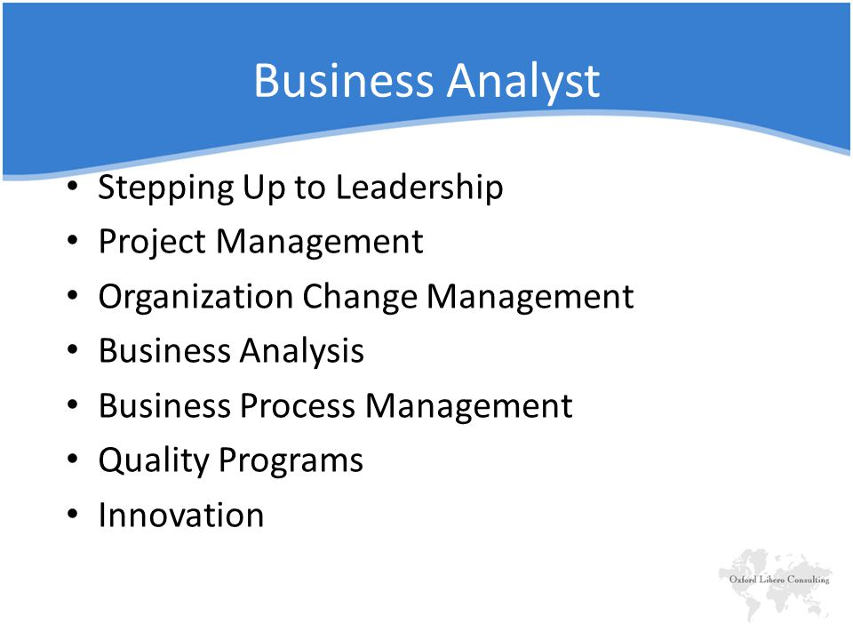 Business Analyst Stepping Up to Leadership Project Management Organization Change Management Business Analysis Business Process Management Quality Programs Innovation