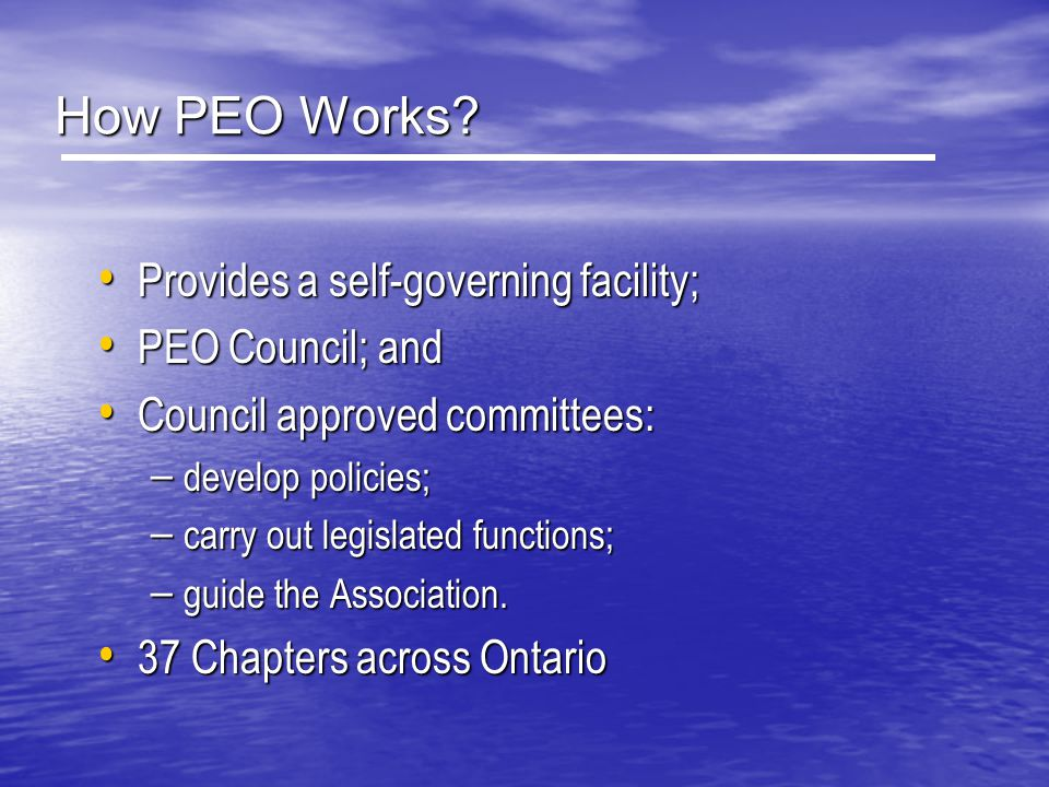 How PEO Works? Provides a self-governing facility; Provides a self-governing facility; PEO Council; and PEO Council; and Council approved committees: