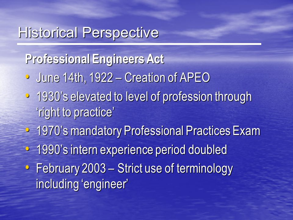 Professional Engineers Ontario Mandate: Professional Engineers Ontario (PEO) administers and enforces the Professional Engineer's Act of Ontario, Professional Engineers Ontario (PEO) administers and enforces the Professional Engineer's Act of Ontario, sets the standards of practice for professional engineering in Ontario, sets the standards of practice for professional engineering in Ontario, Licenses & disciplines engineers & engineering firms, including control of the use of titles such as engineer, P.Eng., & Consulting Engineer Licenses & disciplines engineers & engineering firms, including control of the use of titles such as engineer, P.Eng., & Consulting Engineer in order that the public interest may be served and protected .