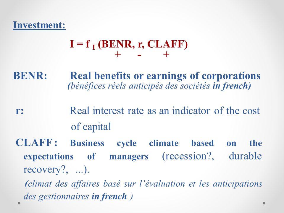 -10 0 10 20 -60 -40 -20 0 20 40 60 80 198019851990199520002005 Investissement réelBénéfices reels avant impot T a u x d e c r o i s s a n c e ( % ) T a u x d e c r o i s s a n c e ( % ) Investissement réel et bénéfices réels avant impôts - Canada (1980-2009)