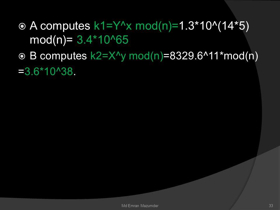  A computes k1=Y^x mod(n)=1.3*10^(14*5) mod(n)= 3.4*10^65  B computes k2=X^y mod(n)=8329.6^11*mod(n) =3.6*10^38.