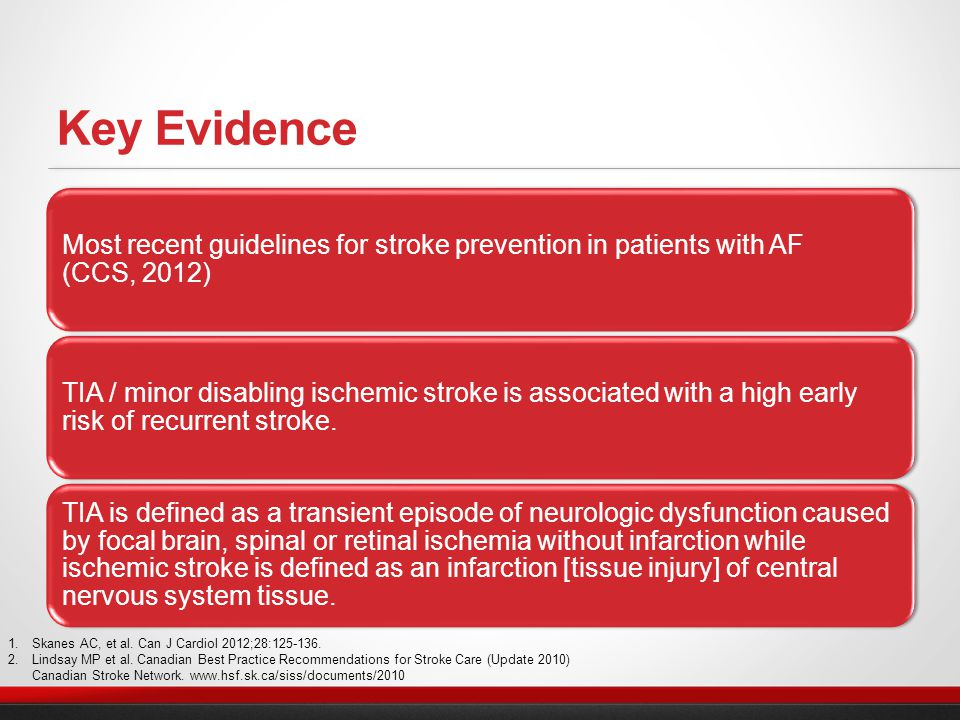 Most recent guidelines for stroke prevention in patients with AF (CCS, 2012) TIA / minor disabling ischemic stroke is associated with a high early risk of recurrent stroke.