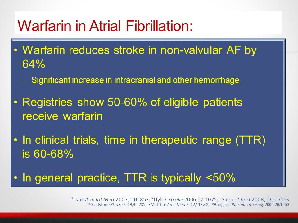 CCS 2012 Update to AF Guidelines CHADS 2 = 0 *Aspirin is a reasonable alternative in some as indicated by risk/benefit CHADS 2 = 1 CHADS 2 ≥ 2 No anti- thrombotic Assess Thromboembolic Risk (CHADS 2 ) No additional risk factors for stroke Increasing stroke risk ASA OAC* OAC Either female sex or vascular disease Age ≥ 65 yrs or combination of female sex and vascular disease Age ≥ 65 yrs or combination of female sex and vascular disease OAC = Oral anticoagulant ASA = Aspirin Consider stroke risk vs.