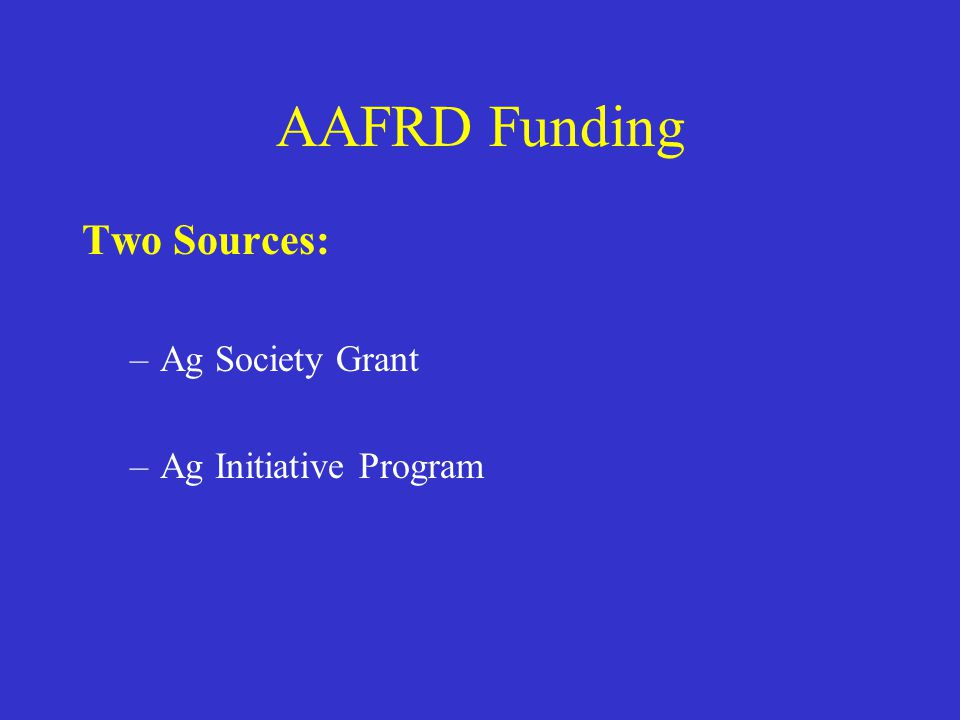 AAFRD Funding Two Sources: –Ag Society Grant –Ag Initiative Program