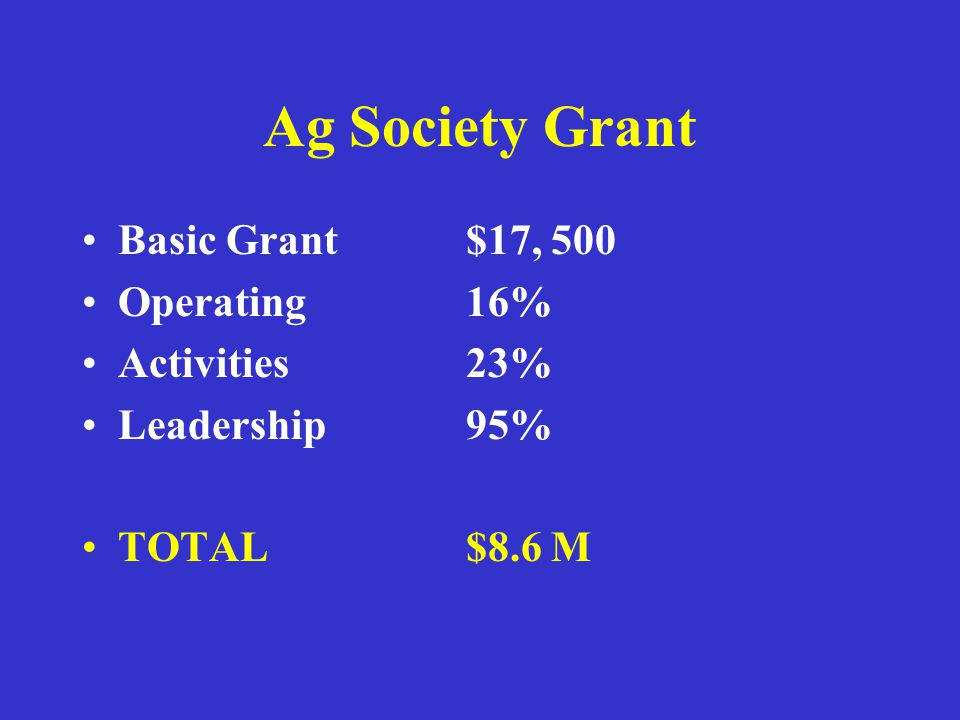 Ag Society Grant Basic Grant $17, 500 Operating 16% Activities23% Leadership 95% TOTAL$8.6 M