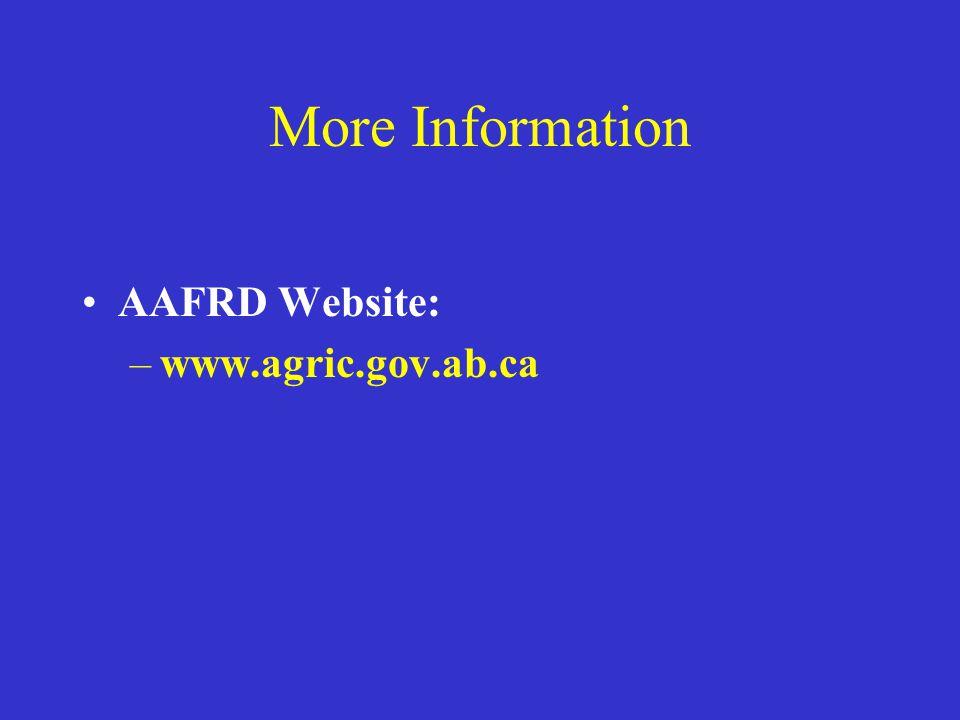 More Information AAFRD Website: –www.agric.gov.ab.ca