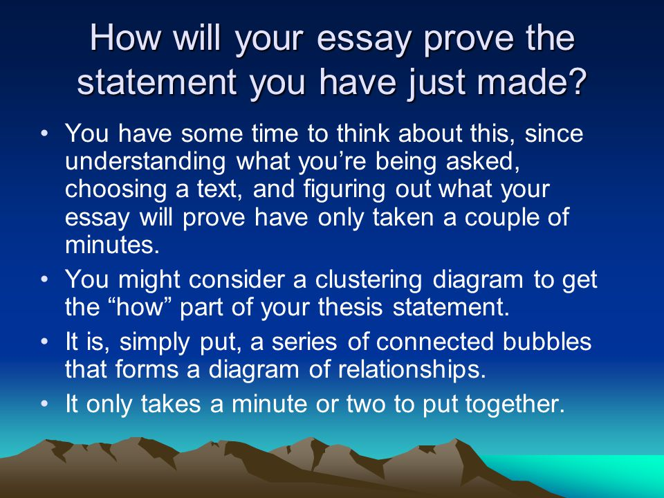 How will your essay prove the statement you have just made.