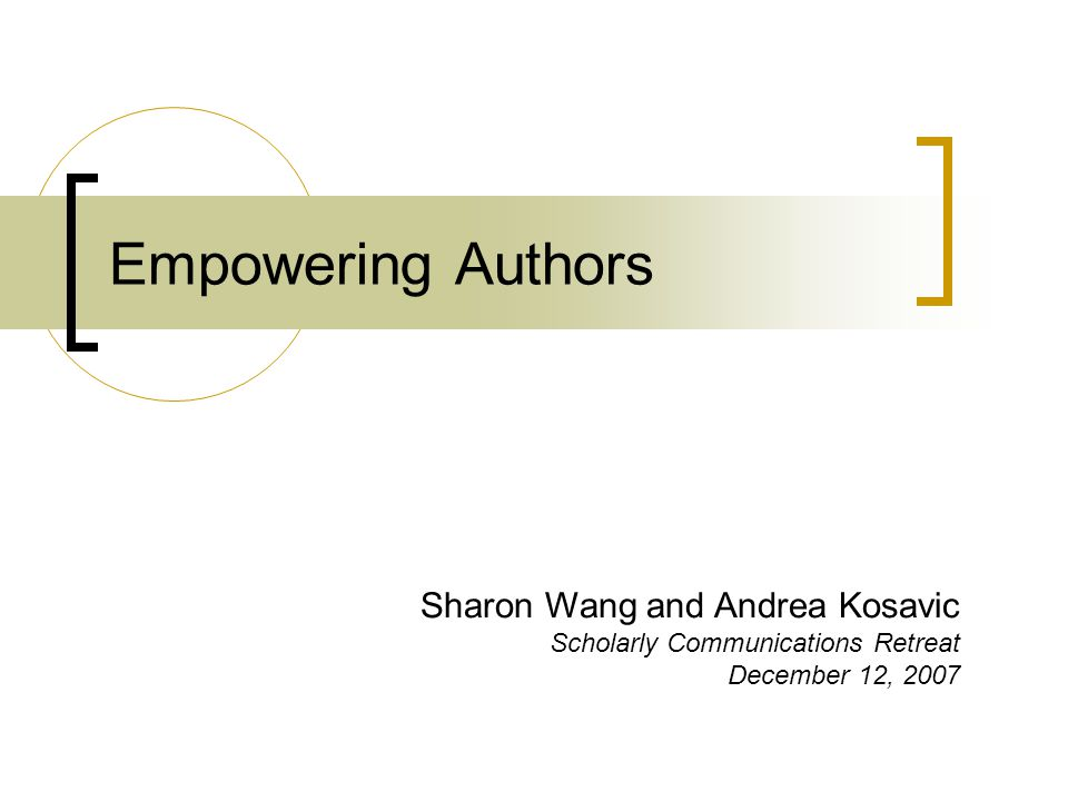 Agenda Survey of author attitudes How librarians can help authors Author's rights vs.