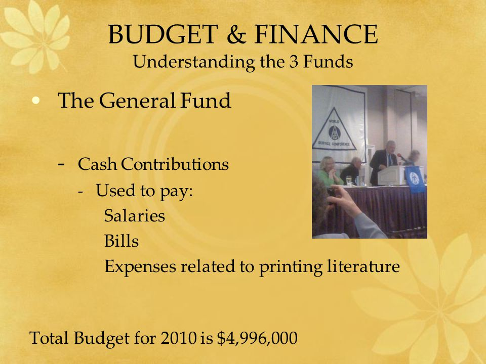 BUDGET & FINANCE Understanding the 3 Funds The General Fund - Cash Contributions - Used to pay: Salaries Bills Expenses related to printing literature Total Budget for 2010 is $4,996,000