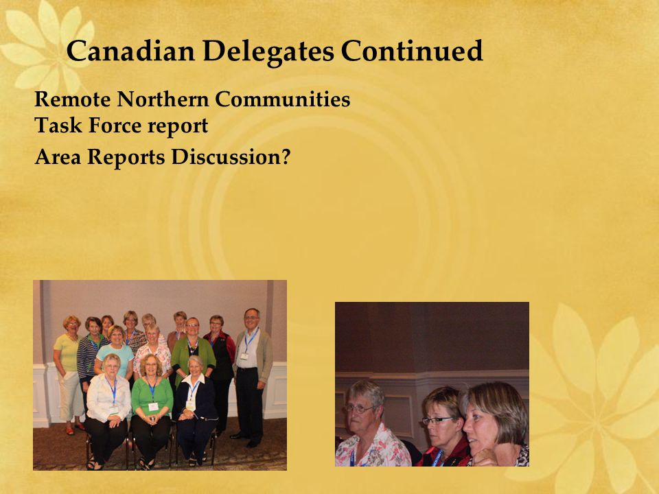 Canadian Delegates Continued Remote Northern Communities Task Force report Area Reports Discussion