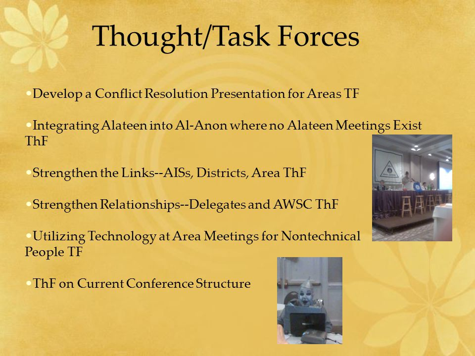 Thought/Task Forces Develop a Conflict Resolution Presentation for Areas TF Integrating Alateen into Al-Anon where no Alateen Meetings Exist ThF Strengthen the Links--AISs, Districts, Area ThF Strengthen Relationships--Delegates and AWSC ThF Utilizing Technology at Area Meetings for Nontechnical People TF ThF on Current Conference Structure