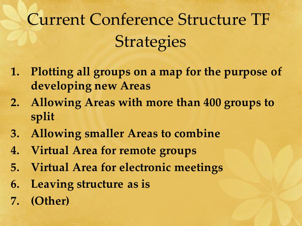 Current Conference Structure TF Strategies 1.Plotting all groups on a map for the purpose of developing new Areas 2.Allowing Areas with more than 400 groups to split 3.Allowing smaller Areas to combine 4.Virtual Area for remote groups 5.Virtual Area for electronic meetings 6.Leaving structure as is 7.(Other)