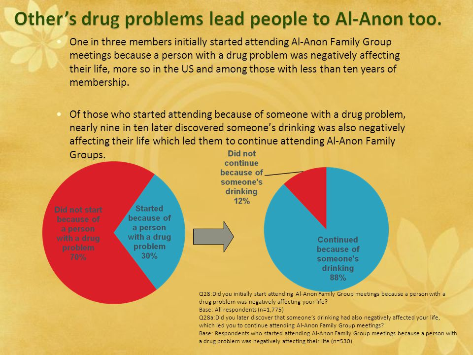 One in three members initially started attending Al-Anon Family Group meetings because a person with a drug problem was negatively affecting their life, more so in the US and among those with less than ten years of membership.