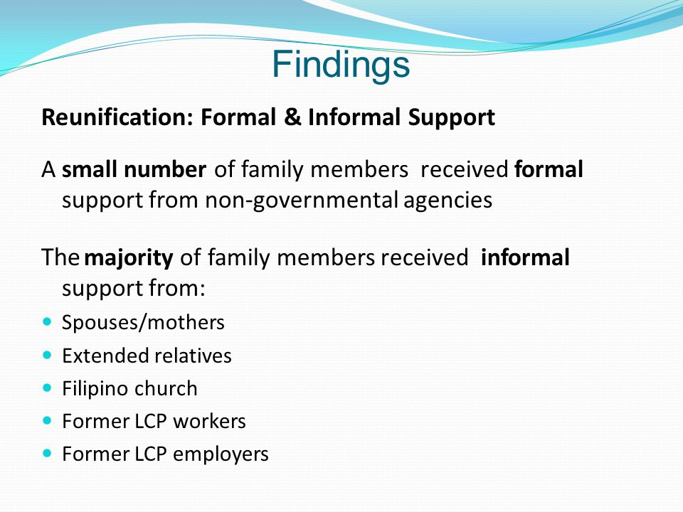 Findings Reunification: Formal & Informal Support A small number of family members received formal support from non-governmental agencies The majority of family members received informal support from: Spouses/mothers Extended relatives Filipino church Former LCP workers Former LCP employers