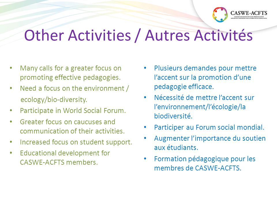 Other Activities / Autres Activités Many calls for a greater focus on promoting effective pedagogies.
