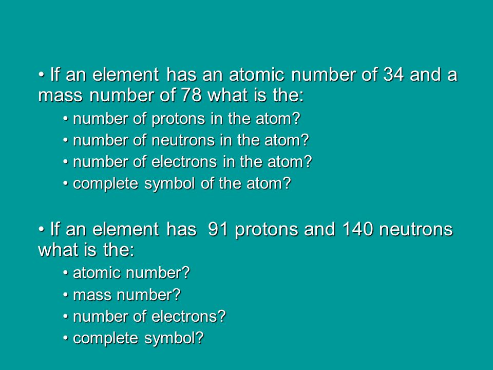 Isotopes Atoms of the same element can have different numbers of neutrons and therefore have different mass numbers The atoms of the same element that differ in the number of neutrons are called isotopes of that element H 1 1 Protium H 2 1 Deuterium H 3 1 Tritium