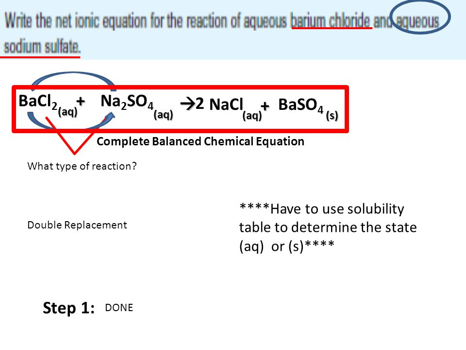 BaCl 2+Na 2 SO 4 (aq) (aq)  What type of reaction? Double Replacement NaCl + BaSO 4 ****Have to use solubility table to determine the state (aq) or (