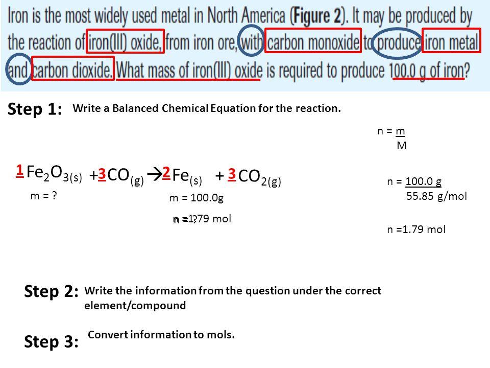 Step 1: Write a Balanced Chemical Equation for the reaction. Fe 2 O 3(s) + CO (g)  Fe (s) + CO 2(g) m = ? 2 33 1 m = 100.0g Step 2: Write the informa