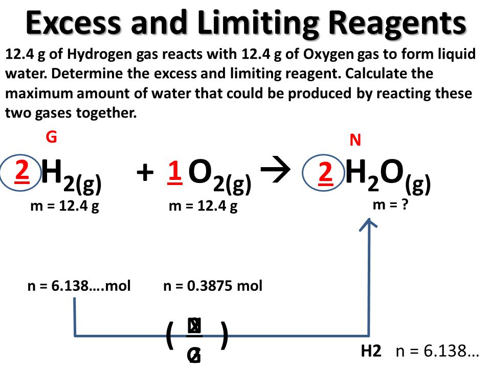 Excess and Limiting Reagents 12.4 g of Hydrogen gas reacts with 12.4 g of Oxygen gas to form liquid water. Determine the excess and limiting reagent.