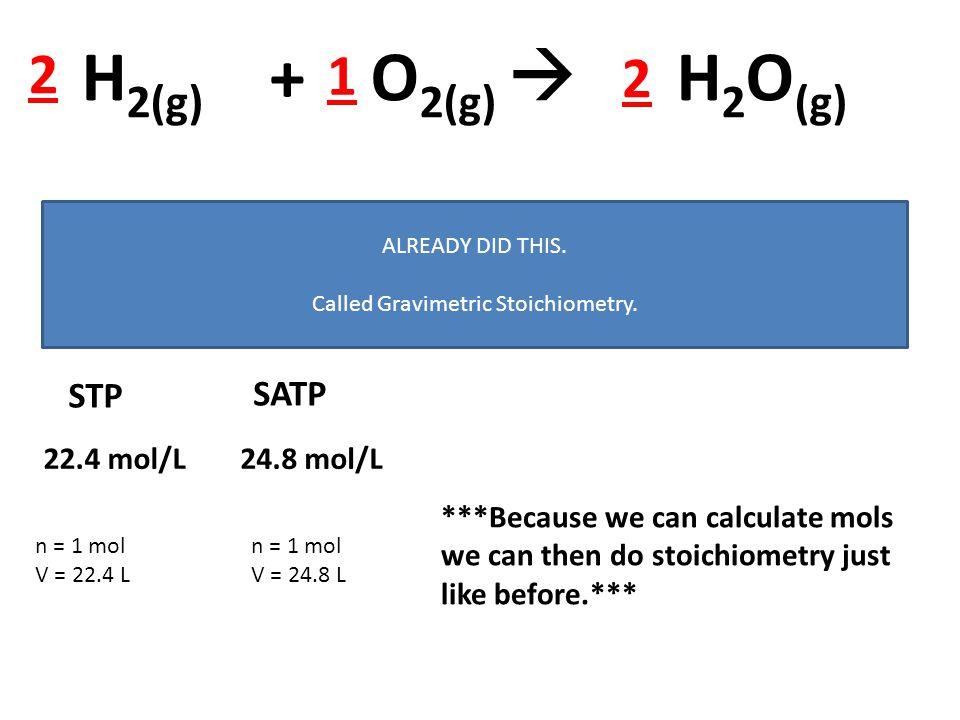 H 2(g) + O 2(g)  H 2 O (g) 2 2 1 n = m M Use this when we turn a mass into mols and do stoichiometry. ALREADY DID THIS. Called Gravimetric Stoichiome