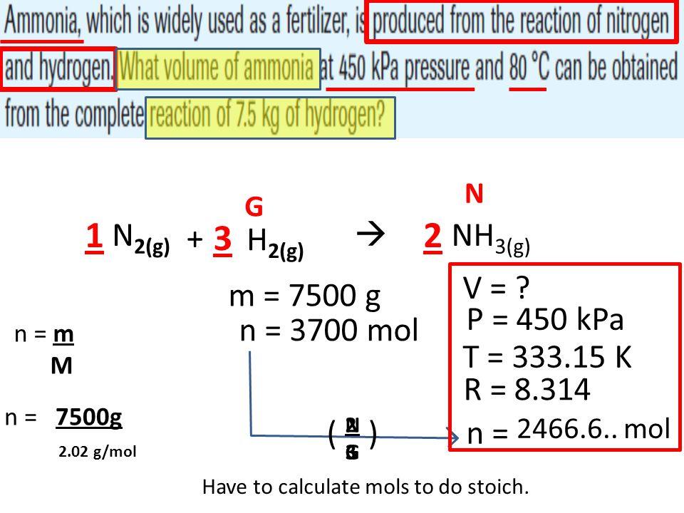 NH 3(g) N 2(g)  + H 2(g) V = ? 21 3 N P = 450 kPa T = 333.15 K m = 7500 g G R = 8.314 Have to calculate mols to do stoich. n = m M n = 7500g 2.02 g/m