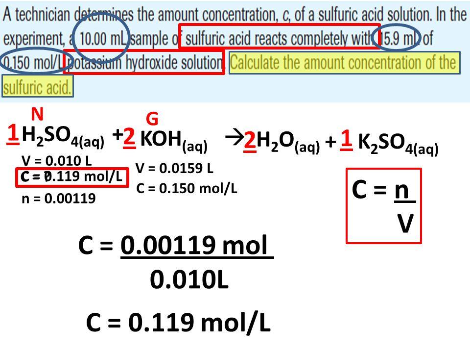 H 2 SO 4(aq) + KOH (aq)  H 2 O (aq) + K 2 SO 4(aq) 2 2 1 1 V = 0.010 L V = 0.0159 L C = 0.150 mol/L C = n V N G n = 0.00119 C = ? C = 0.00119 mol 0.0