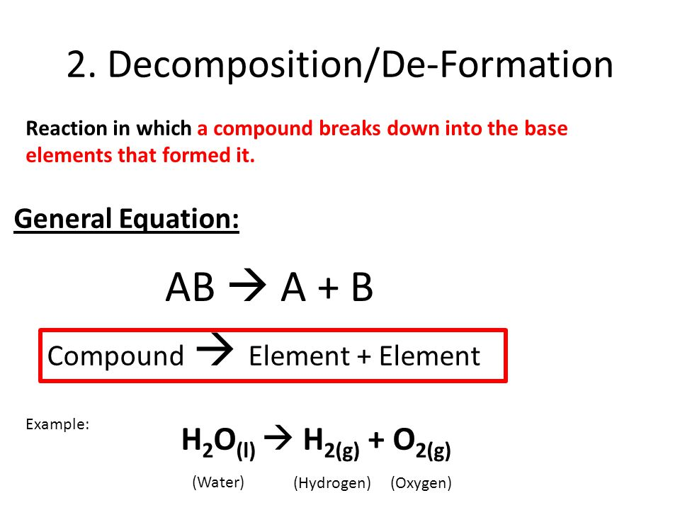 2. Decomposition/De-Formation Reaction in which a compound breaks down into the base elements that formed it. General Equation: AB  A + B Compound 