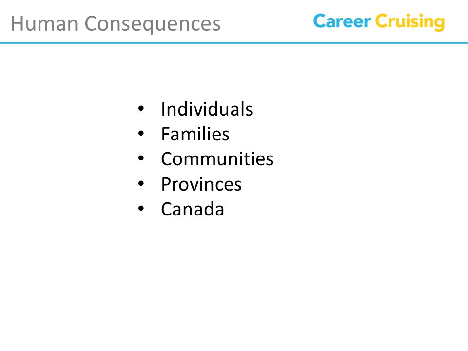 Human Consequences Individuals Families Communities Provinces Canada