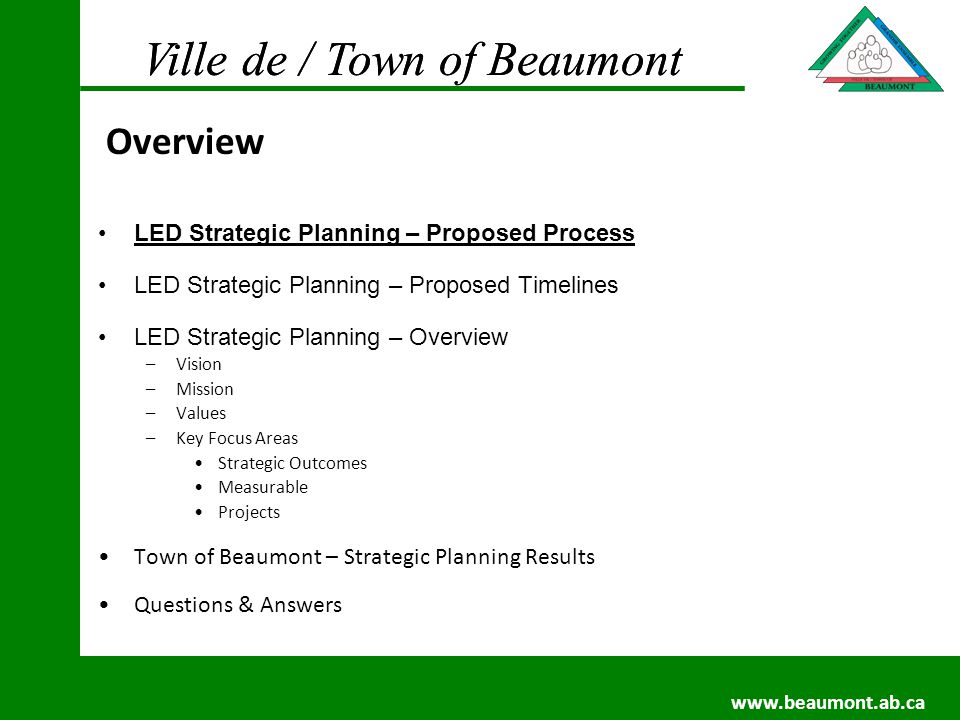 Ville de / Town of Beaumont www.beaumont.ab.ca Ville de / Town of Beaumont www.beaumont.ab.ca Collect Information –Workshops –Stakeholder Interviews Provincial Representatives Elected Officials Community Representatives Others as needed Receive feedback from Steering Committee (6) members as follows: –Representative from Kandal Province –Representative from Kohthom District –Representative from NLC/S –Representative from Commune (Provincial Association of Communes) –Representative from the business community –Representative – female from the community at large LED Strategic Planning – Proposed Process