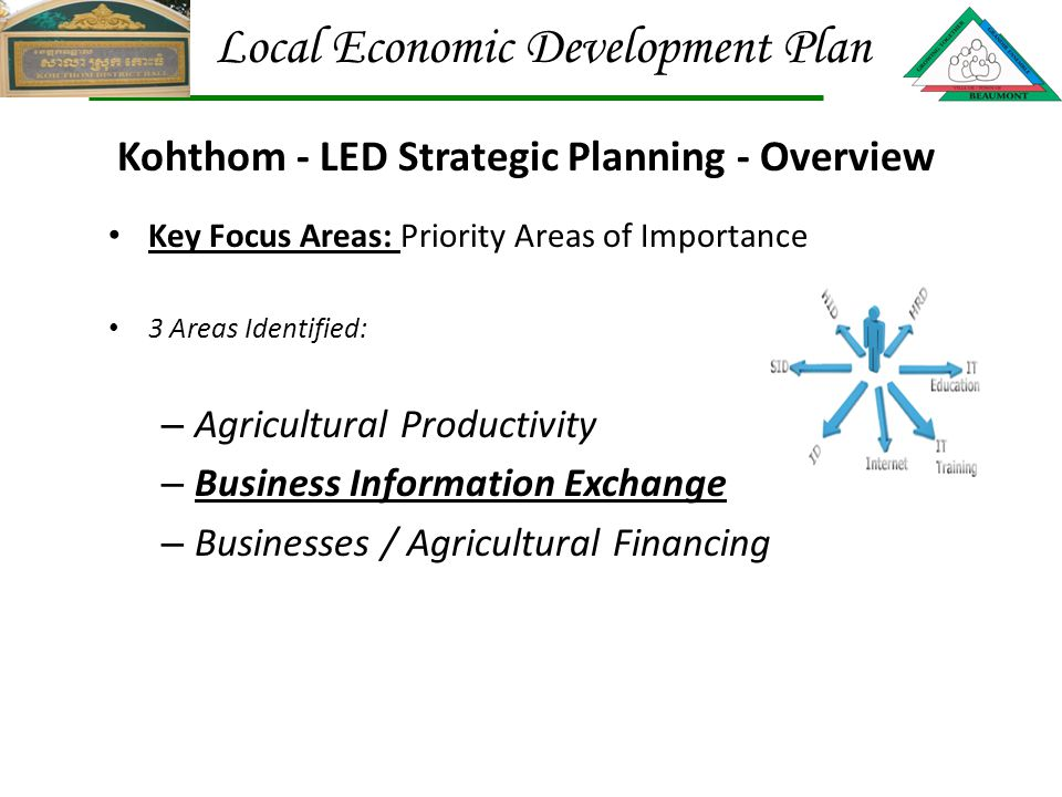 Key Focus Areas: Priority Areas of Importance 3 Areas Identified: – Agricultural Productivity – Business Information Exchange – Businesses / Agricultural Financing Kohthom - LED Strategic Planning - Overview Local Economic Development Plan