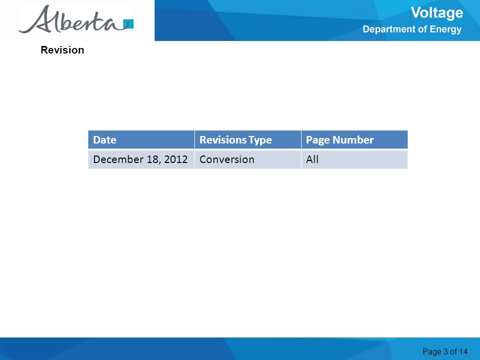 Page 3 of 14 Revision DateRevisions TypePage Number December 18, 2012ConversionAll