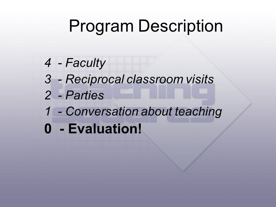 A Teaching Square consists of four faculty who: Observe at least one class taught be each Square Partner Reflect on the class observation experience Share reflections with Square partners Share reflections with all project participants