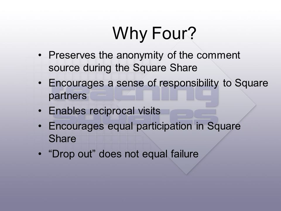 Preserves the anonymity of the comment source during the Square Share Encourages a sense of responsibility to Square partners Enables reciprocal visits Encourages equal participation in Square Share Drop out does not equal failure Why Four?