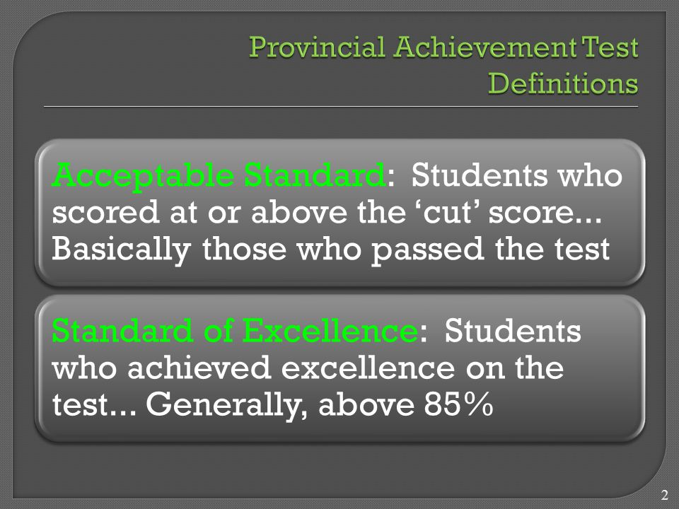 Acceptable Standard: Students who scored at or above the 'cut' score...
