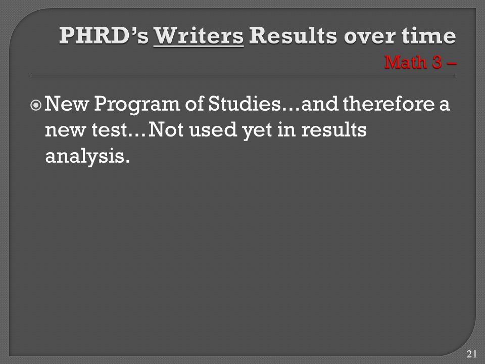 21  New Program of Studies...and therefore a new test... Not used yet in results analysis.