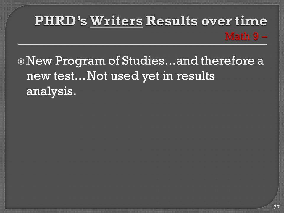 27  New Program of Studies...and therefore a new test... Not used yet in results analysis.