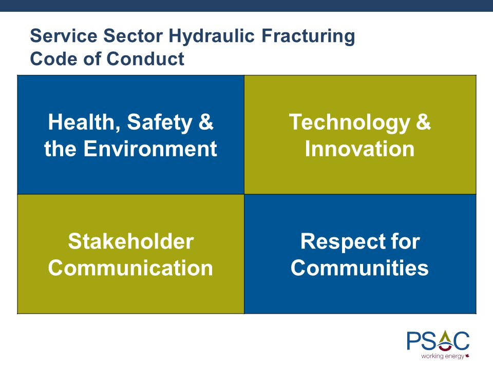 Service Sector Hydraulic Fracturing Code of Conduct Health, Safety & the Environment Technology & Innovation Stakeholder Communication Respect for Communities