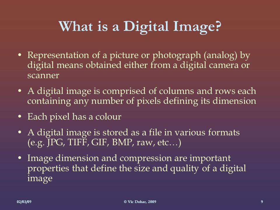 02/03/09© Vic Dohar, What is a Digital Image.