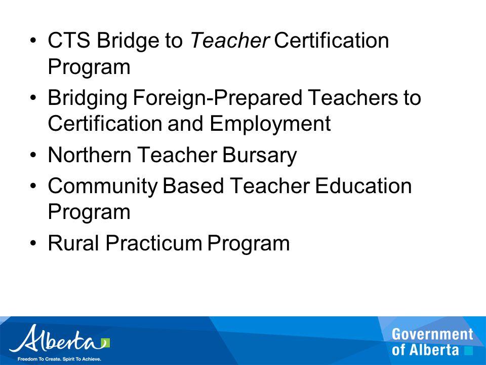 CTS Bridge to Teacher Certification Program Bridging Foreign-Prepared Teachers to Certification and Employment Northern Teacher Bursary Community Base