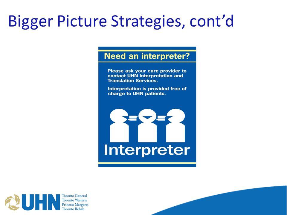 Bigger Picture Strategies, cont'd