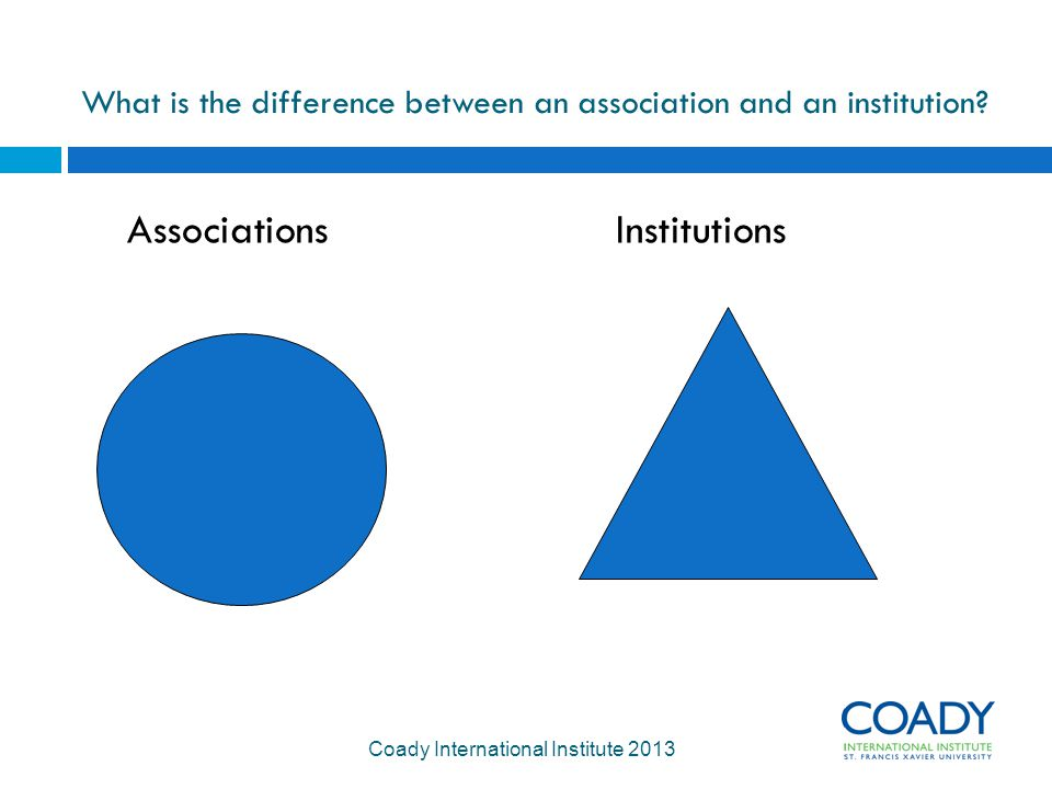What is the difference between an association and an institution.