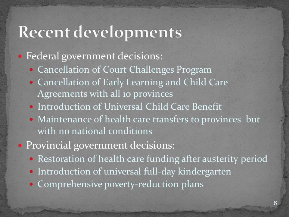 Federal government decisions: Cancellation of Court Challenges Program Cancellation of Early Learning and Child Care Agreements with all 10 provinces