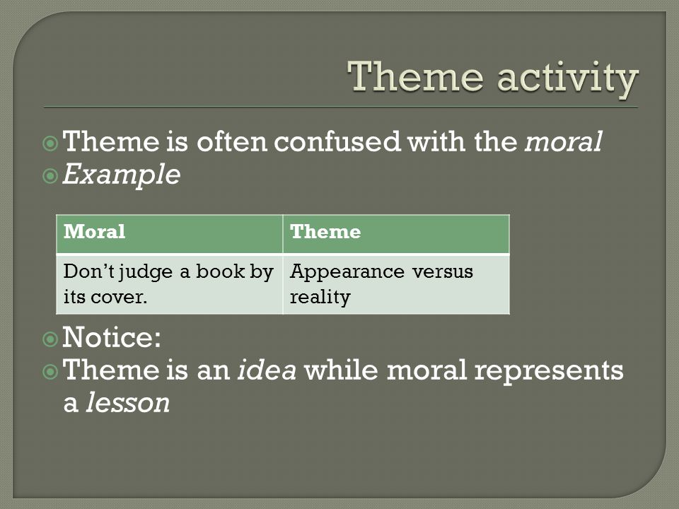  Theme is often confused with the moral  Example  Notice:  Theme is an idea while moral represents a lesson MoralTheme Don't judge a book by its cover.