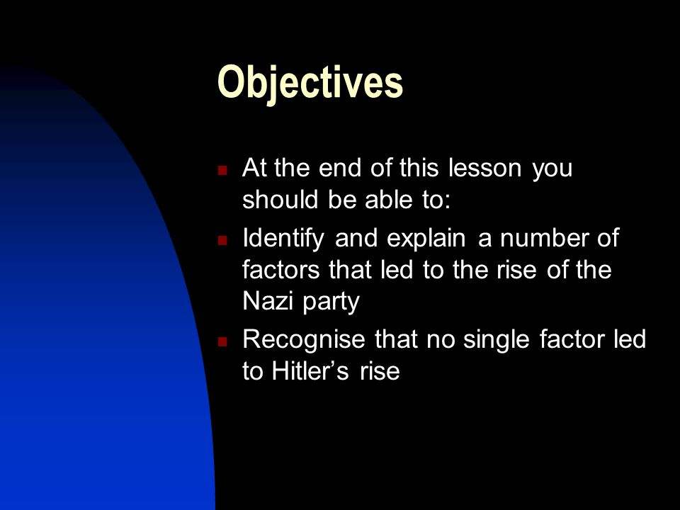 1 Hitler's Rise to Power An overview of the causes of Hitler's rise to power in Germany. Note: this presentation provides only a brief overview of the