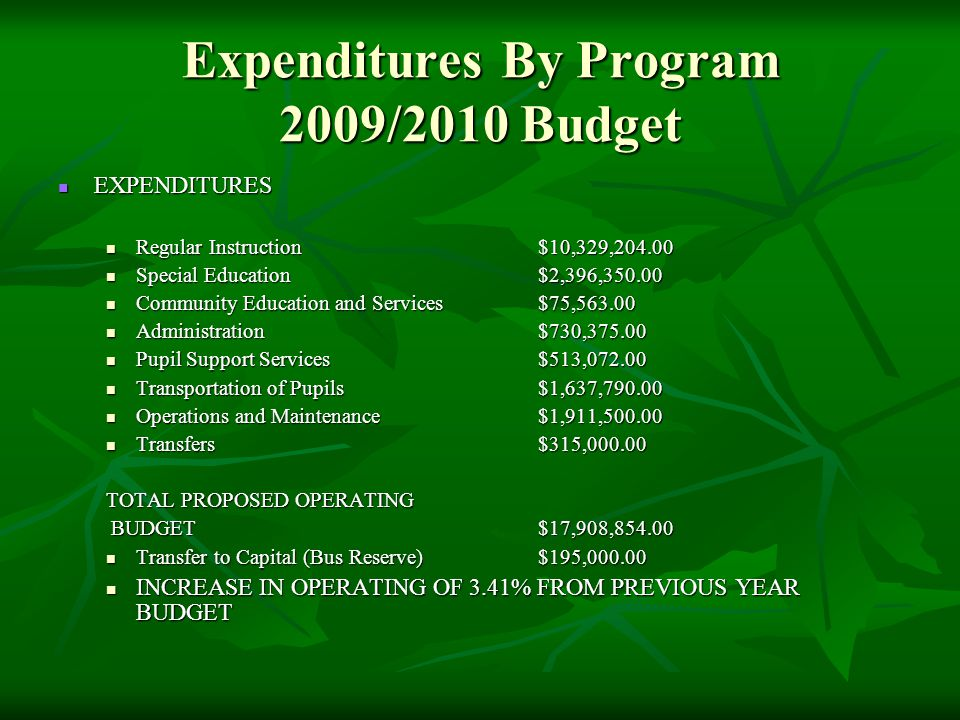 Expenditures By Program 2009/2010 Budget EXPENDITURES EXPENDITURES Regular Instruction$10,329,204.00 Regular Instruction$10,329,204.00 Special Education$2,396,350.00 Special Education$2,396,350.00 Community Education and Services$75,563.00 Community Education and Services$75,563.00 Administration$730,375.00 Administration$730,375.00 Pupil Support Services$513,072.00 Pupil Support Services$513,072.00 Transportation of Pupils$1,637,790.00 Transportation of Pupils$1,637,790.00 Operations and Maintenance$1,911,500.00 Operations and Maintenance$1,911,500.00 Transfers$315,000.00 Transfers$315,000.00 TOTAL PROPOSED OPERATING BUDGET$17,908,854.00 BUDGET$17,908,854.00 Transfer to Capital (Bus Reserve)$195,000.00 Transfer to Capital (Bus Reserve)$195,000.00 INCREASE IN OPERATING OF 3.41% FROM PREVIOUS YEAR BUDGET INCREASE IN OPERATING OF 3.41% FROM PREVIOUS YEAR BUDGET