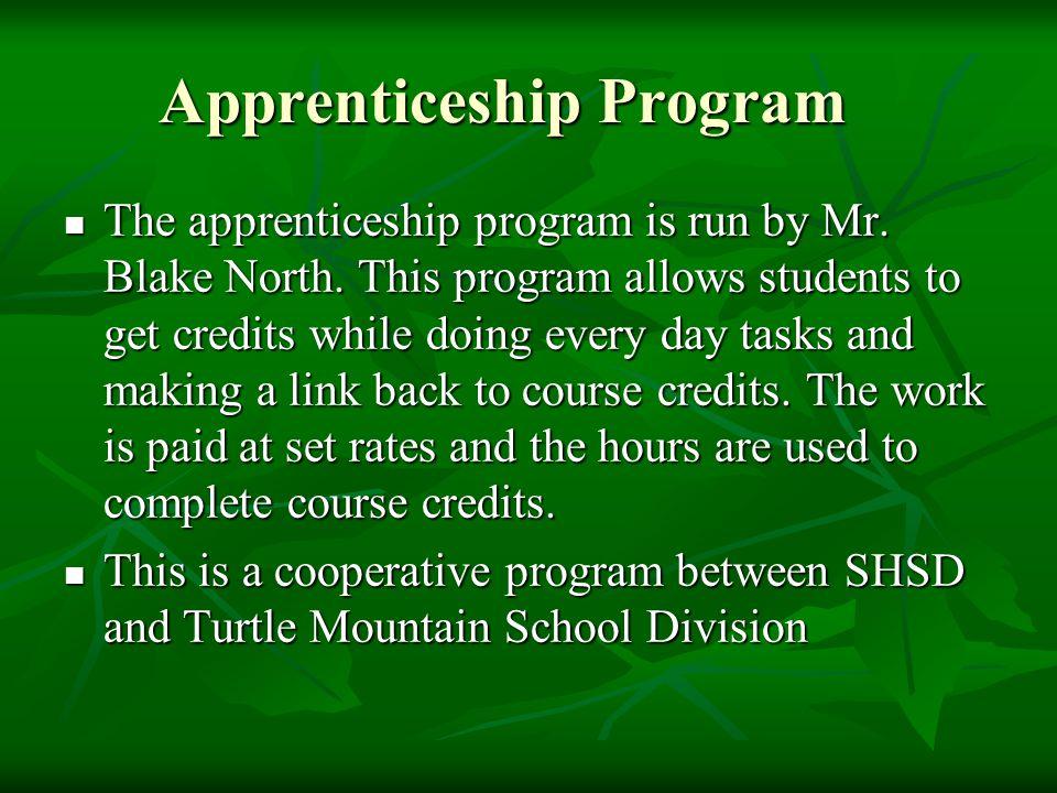 Apprenticeship Program The apprenticeship program is run by Mr.