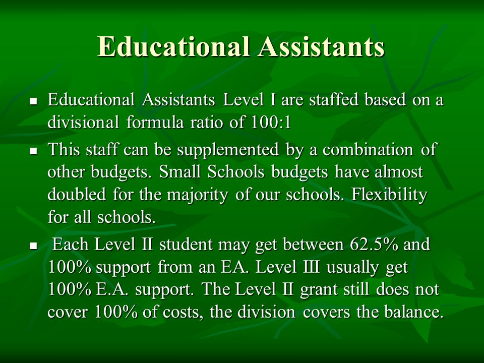 Educational Assistants Educational Assistants Level I are staffed based on a divisional formula ratio of 100:1 Educational Assistants Level I are staffed based on a divisional formula ratio of 100:1 This staff can be supplemented by a combination of other budgets.