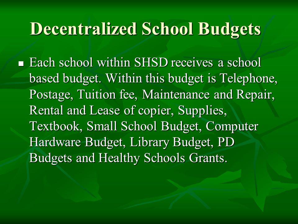 Decentralized School Budgets Each school within SHSD receives a school based budget.