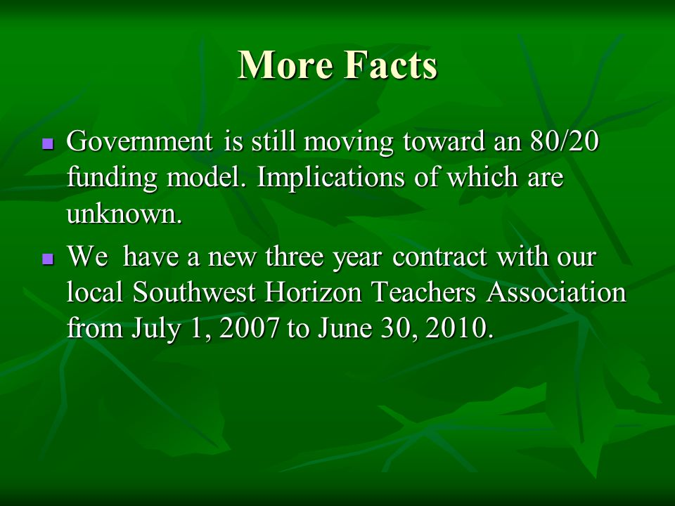 More Facts Government is still moving toward an 80/20 funding model.